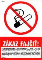 I 1661 SS Zákaz fajčiť ! +znenie zákona 374/2004 samolep.pod. A6