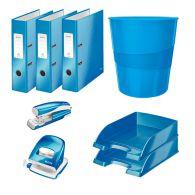 Zostava modrých kancelárskych potrieb Leitz WOW
