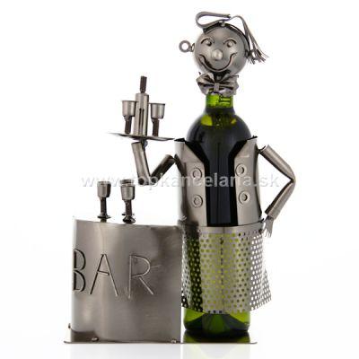 98471 Kovový stojan na víno, motív čašník