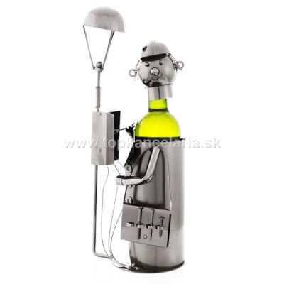 99041 Kovový stojan na víno, elektrikár s lampou