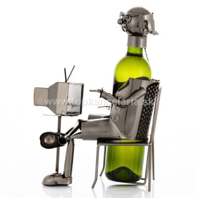 98626 Kovový stojan na víno, motív dôchodca
