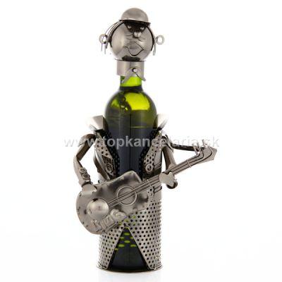 97697 Kovový stojan na víno, motív gitarista