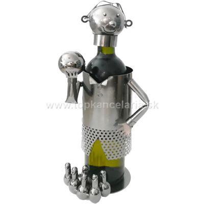 98044 Kovový stojan na víno, motív kúželkár
